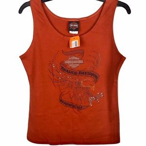 NWT Harley-Davidson Tank Top Orange Womens Large
